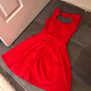 Red skater dress with heart cut out
